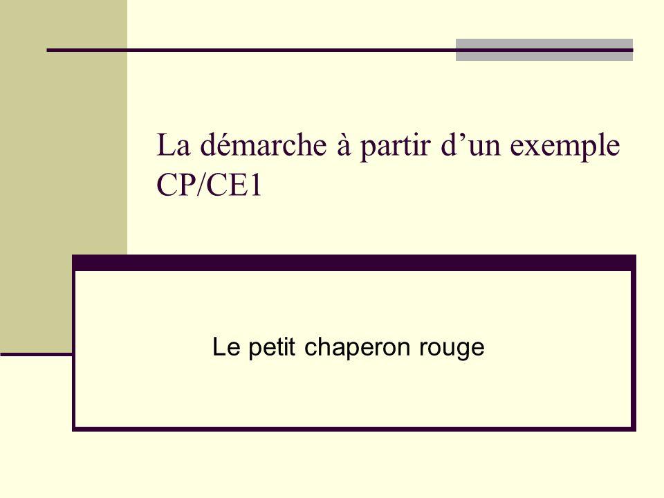 La démarche à partir d'un exemple CP/CE1
