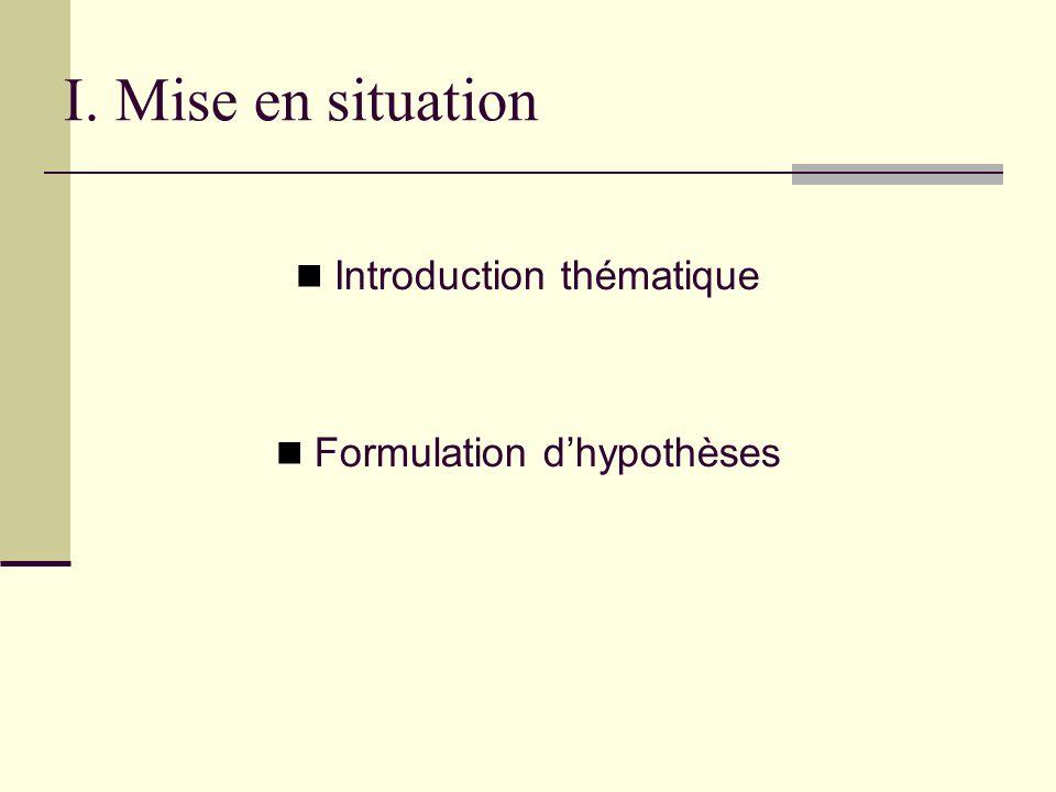 I. Mise en situation Introduction thématique Formulation d'hypothèses