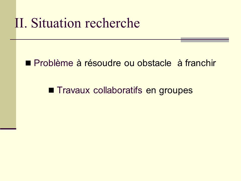 II. Situation recherche