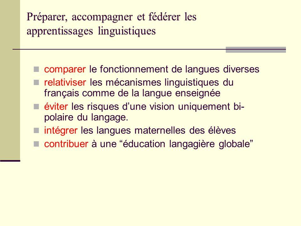 Préparer, accompagner et fédérer les apprentissages linguistiques