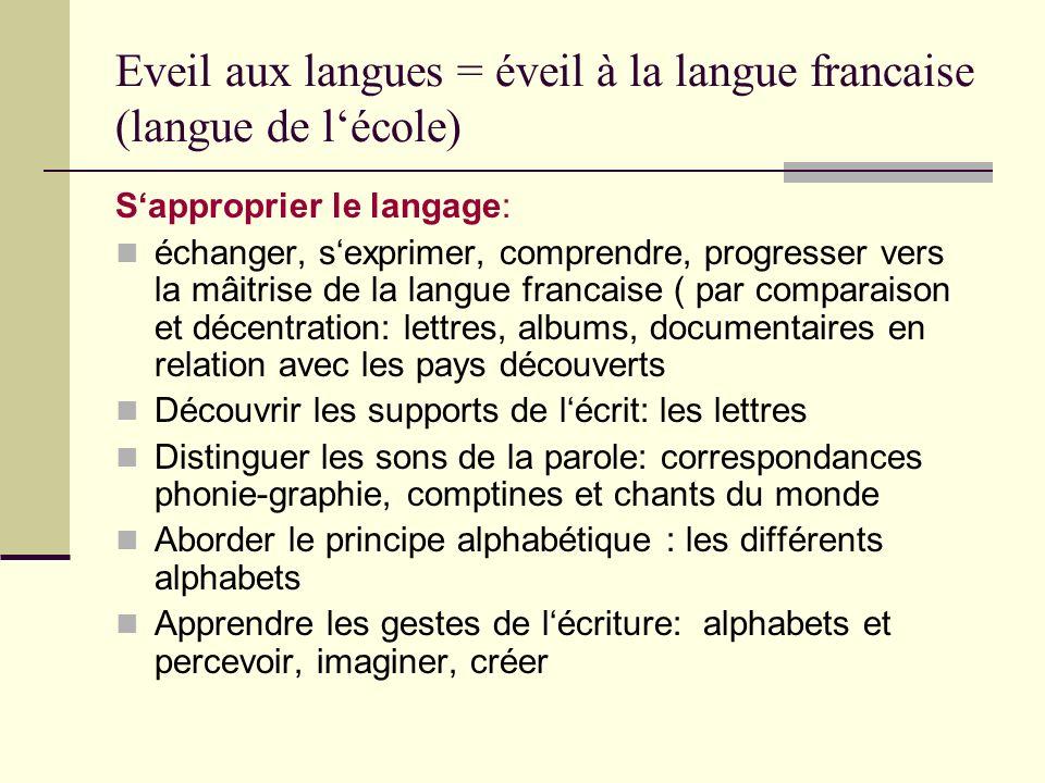 Eveil aux langues = éveil à la langue francaise (langue de l'école)