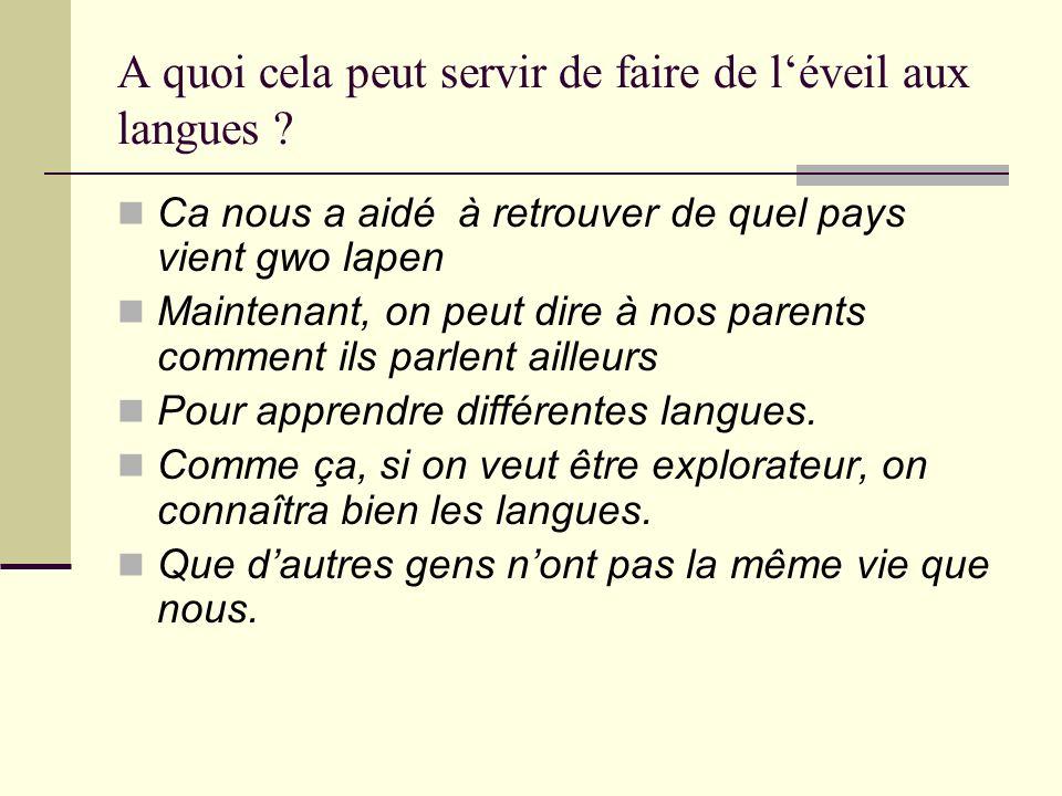 A quoi cela peut servir de faire de l'éveil aux langues