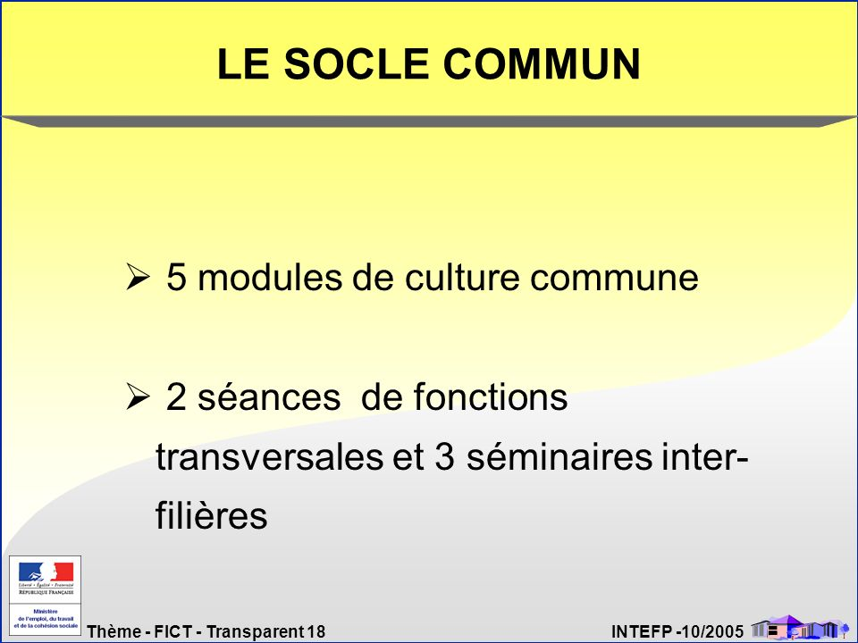LE SOCLE COMMUN 5 modules de culture commune