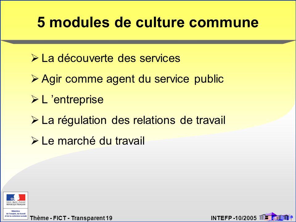 5 modules de culture commune