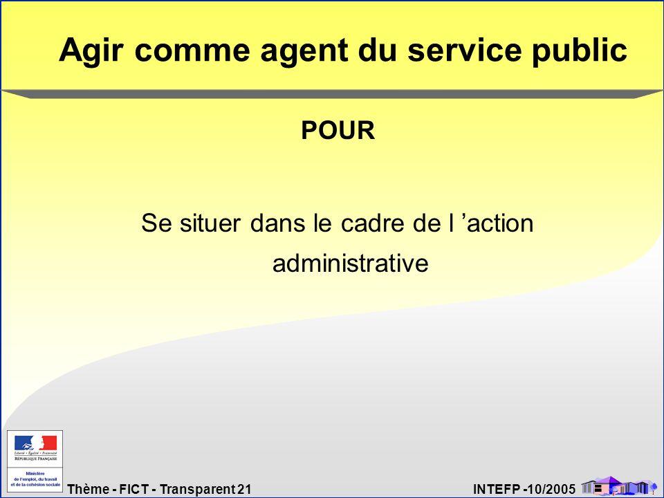 Agir comme agent du service public
