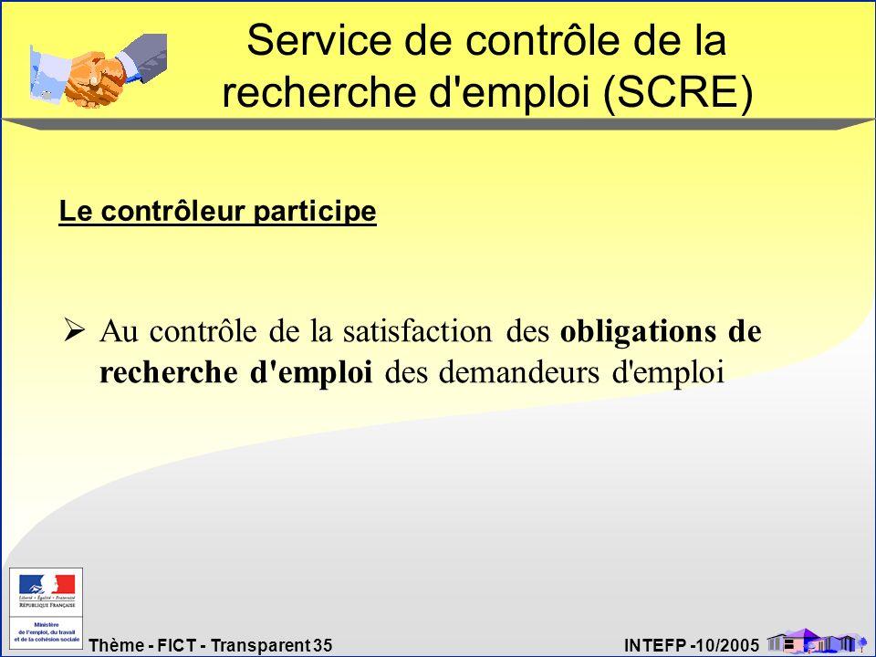 Service de contrôle de la recherche d emploi (SCRE)
