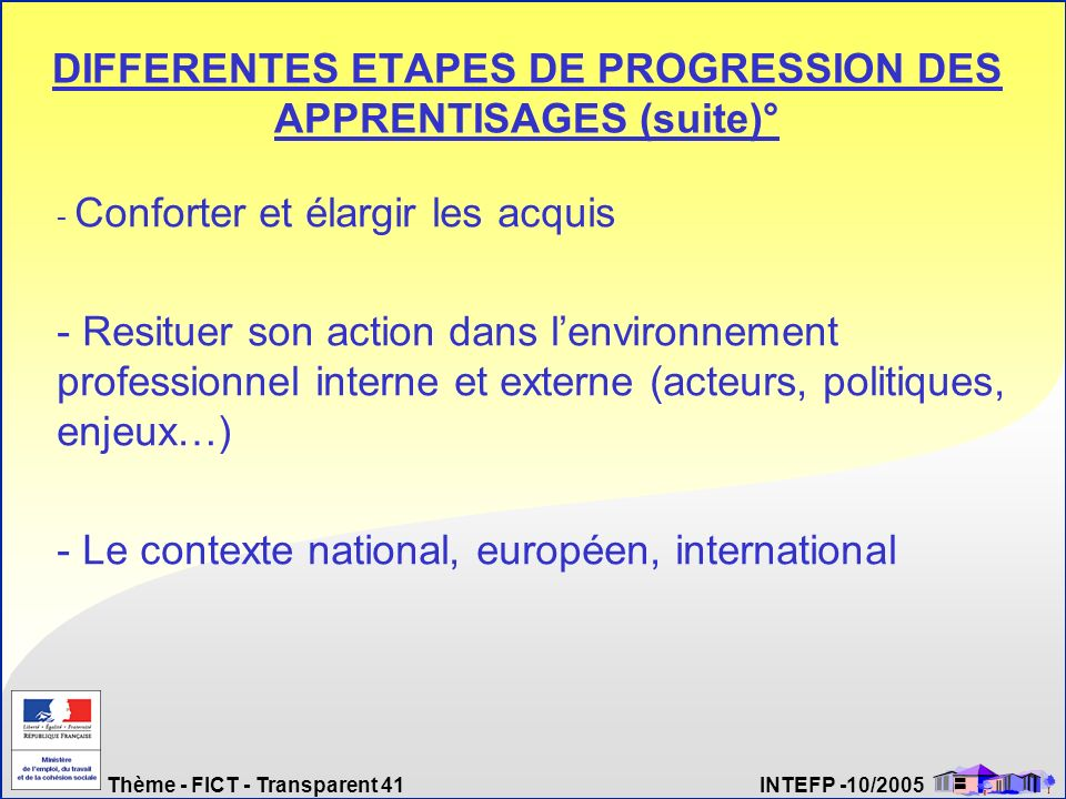 DIFFERENTES ETAPES DE PROGRESSION DES APPRENTISAGES (suite)°