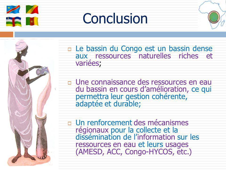 Conclusion Le bassin du Congo est un bassin dense aux ressources naturelles riches et variées;