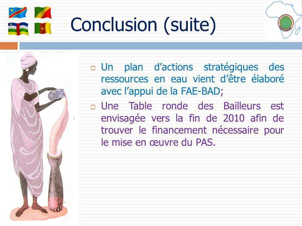 Conclusion (suite) Un plan d'actions stratégiques des ressources en eau vient d'être élaboré avec l'appui de la FAE-BAD;