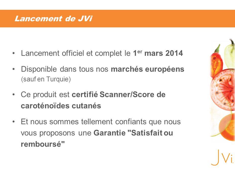 Lancement de JVi Lancement officiel et complet le 1er mars 2014. Disponible dans tous nos marchés européens (sauf en Turquie)