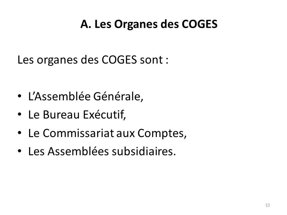 A. Les Organes des COGES Les organes des COGES sont : L'Assemblée Générale, Le Bureau Exécutif, Le Commissariat aux Comptes,