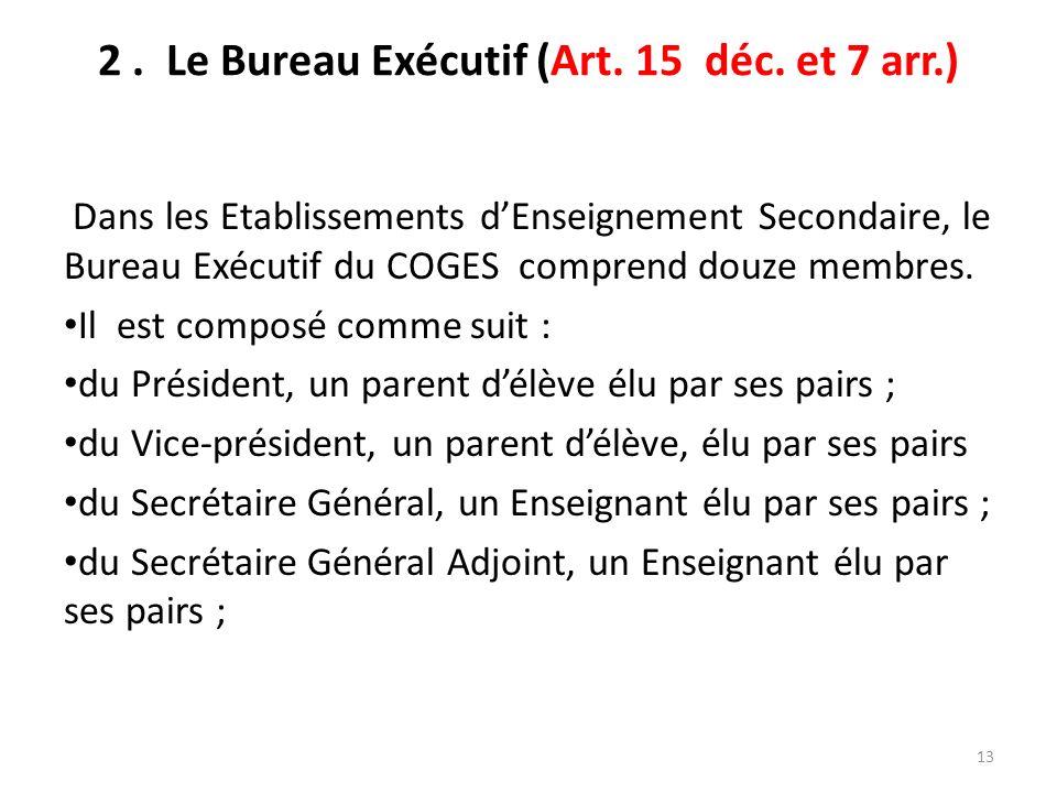 2 . Le Bureau Exécutif (Art. 15 déc. et 7 arr.)