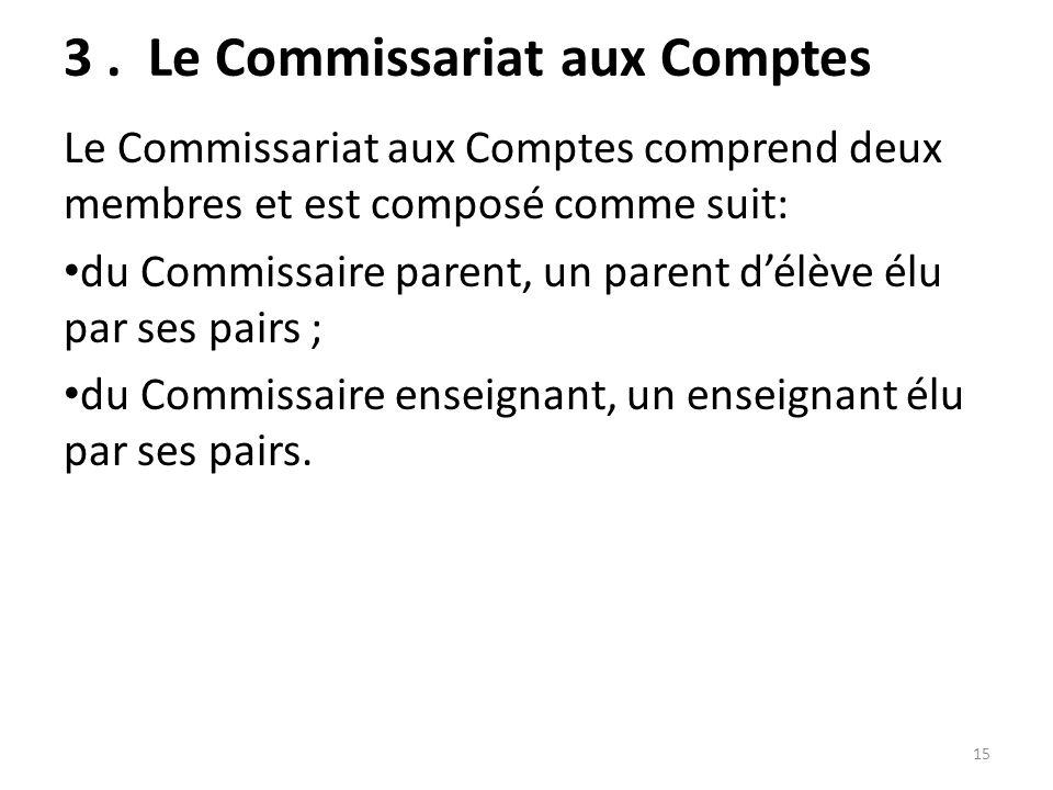 3 . Le Commissariat aux Comptes