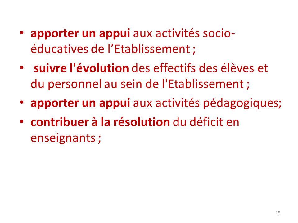 apporter un appui aux activités socio-éducatives de l'Etablissement ;