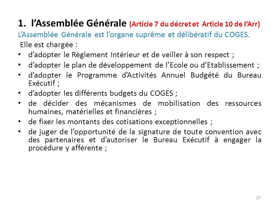 1. l'Assemblée Générale (Article 7 du décret et Article 10 de l'Arr)