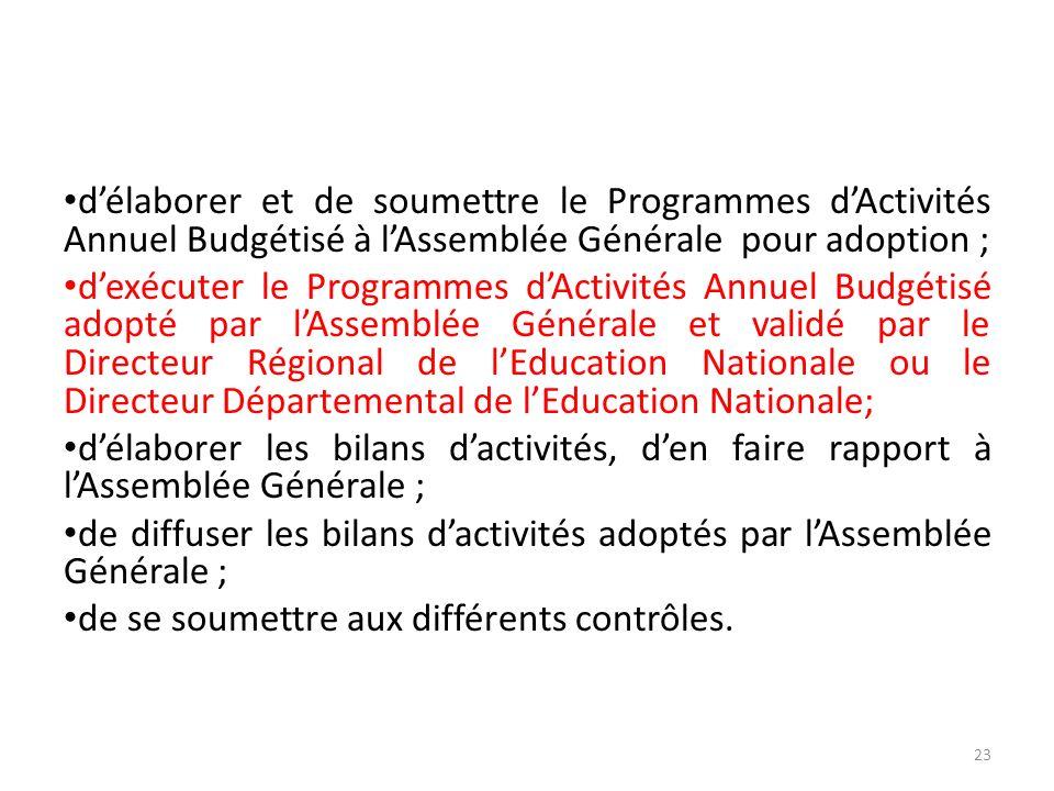 d'élaborer et de soumettre le Programmes d'Activités Annuel Budgétisé à l'Assemblée Générale pour adoption ;