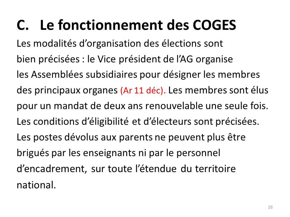 C. Le fonctionnement des COGES
