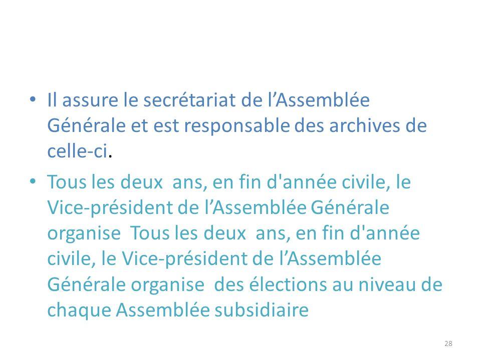 Il assure le secrétariat de l'Assemblée Générale et est responsable des archives de celle-ci.