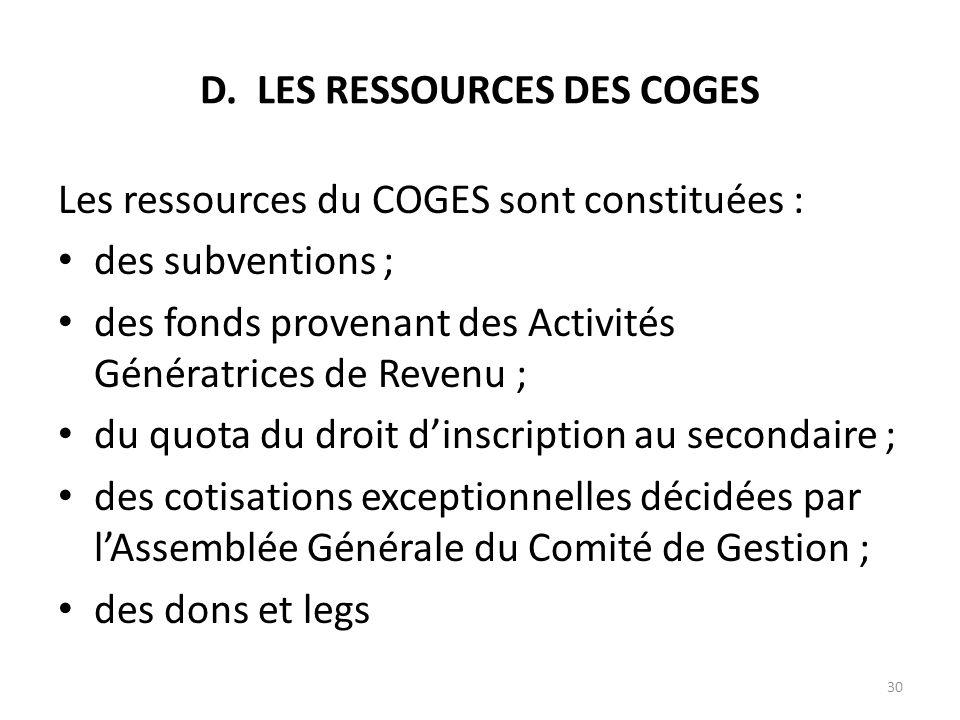 D. LES RESSOURCES DES COGES