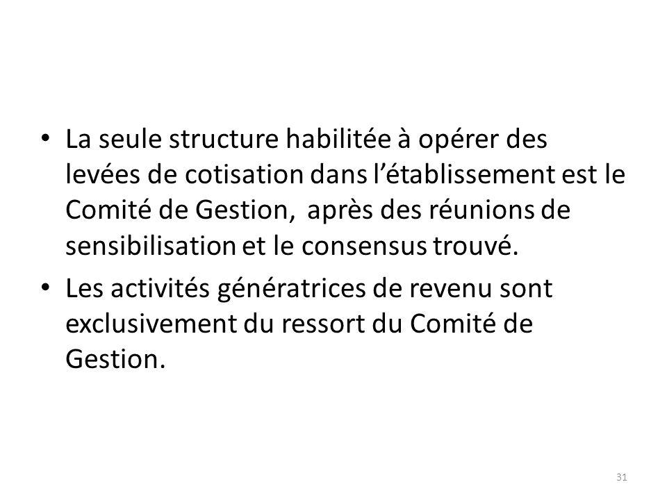 La seule structure habilitée à opérer des levées de cotisation dans l'établissement est le Comité de Gestion, après des réunions de sensibilisation et le consensus trouvé.