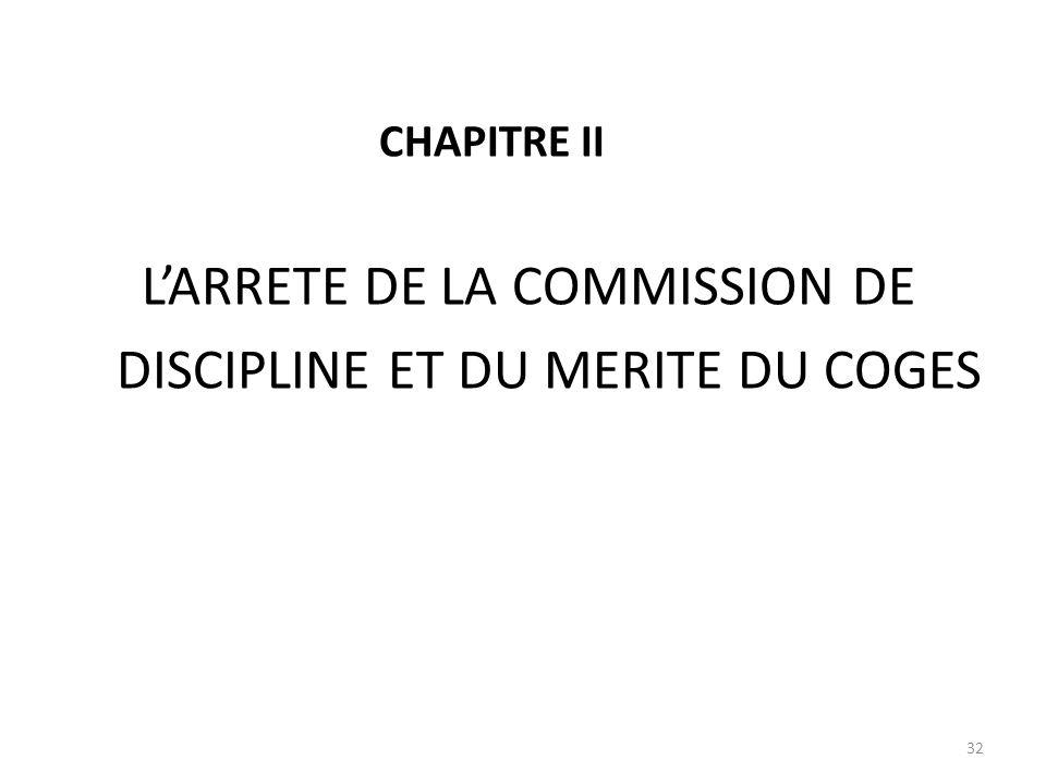 DISCIPLINE ET DU MERITE DU COGES