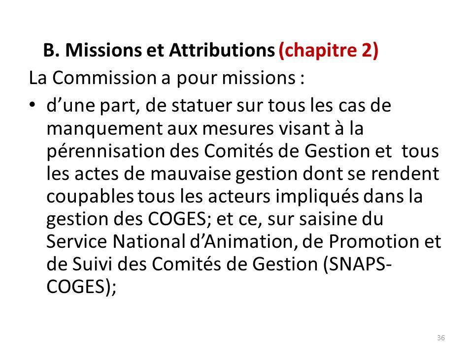 B. Missions et Attributions (chapitre 2)