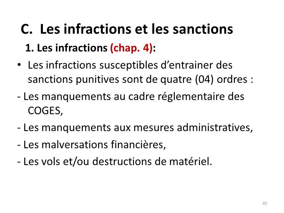 C. Les infractions et les sanctions