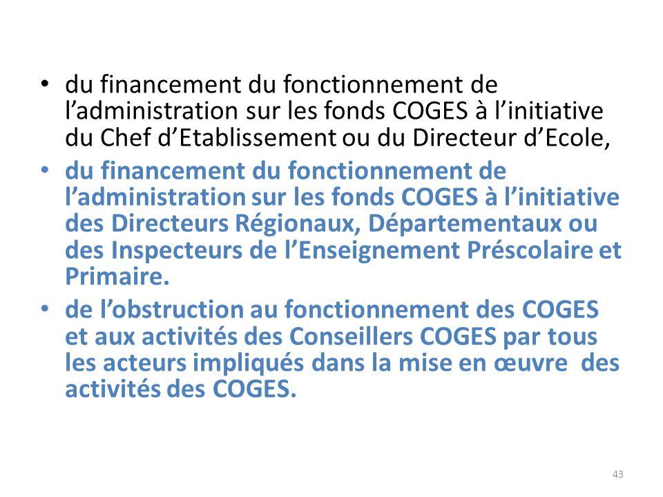 du financement du fonctionnement de l'administration sur les fonds COGES à l'initiative du Chef d'Etablissement ou du Directeur d'Ecole,