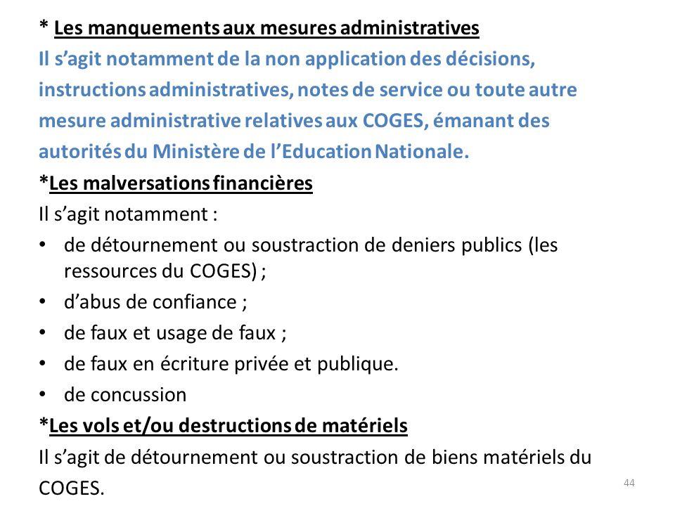 * Les manquements aux mesures administratives