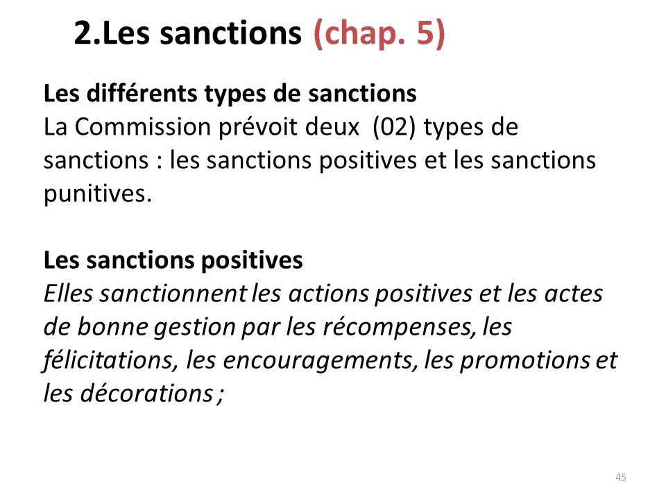 2.Les sanctions (chap. 5)