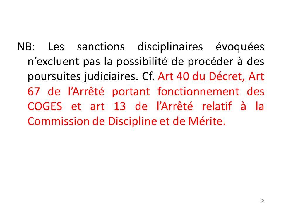 NB: Les sanctions disciplinaires évoquées n'excluent pas la possibilité de procéder à des poursuites judiciaires.