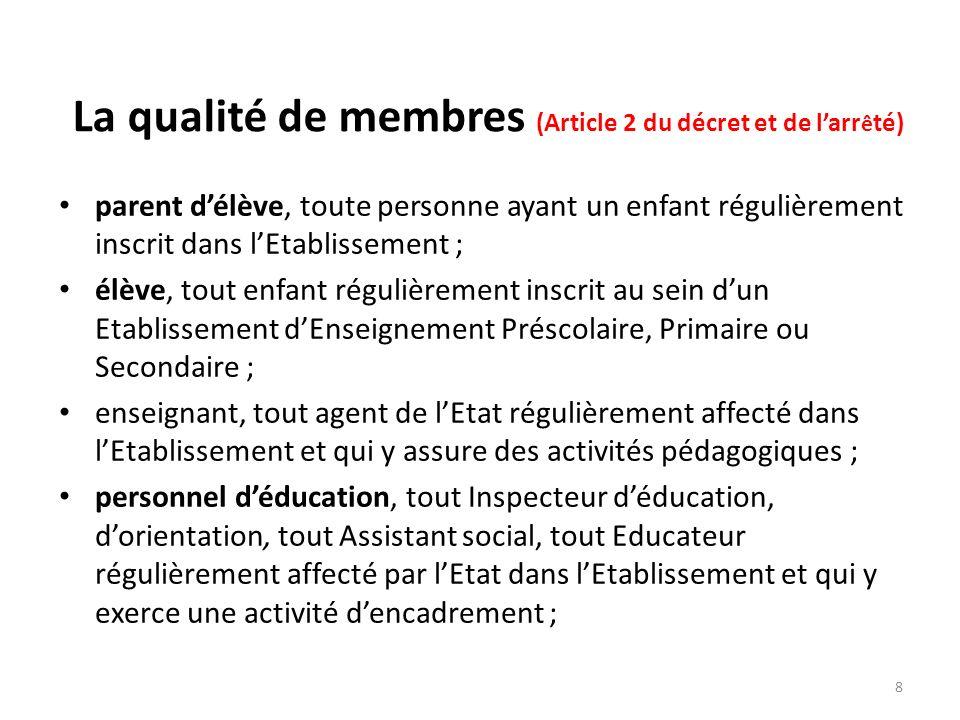 La qualité de membres (Article 2 du décret et de l'arrêté)
