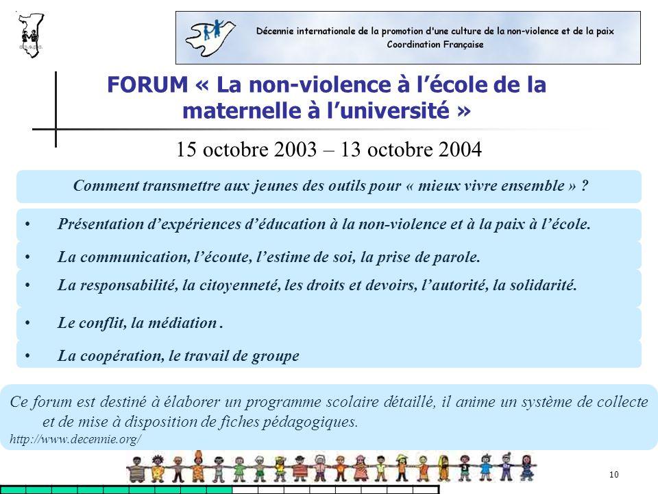 FORUM « La non-violence à l'école de la maternelle à l'université »