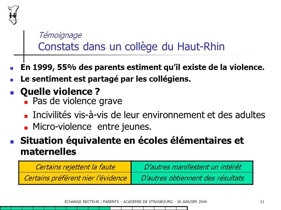 Témoignage Constats dans un collège du Haut-Rhin