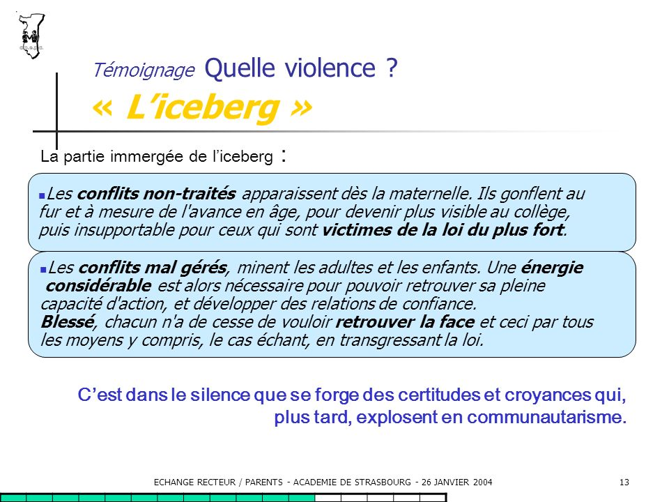 Témoignage Quelle violence « L'iceberg »