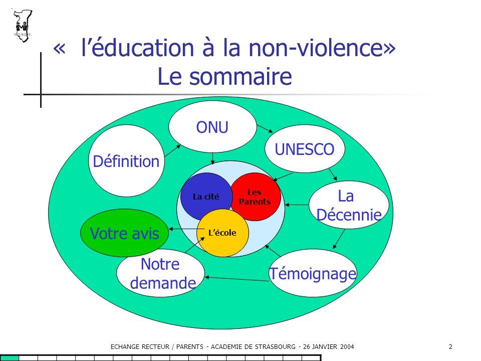 « l'éducation à la non-violence» Le sommaire