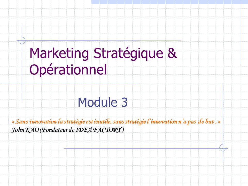 Marketing Stratégique & Opérationnel