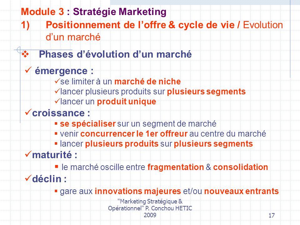 Positionnement de l'offre & cycle de vie / Evolution d'un marché