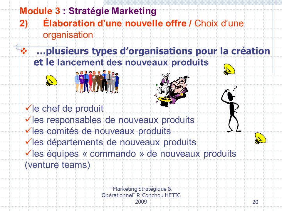 Élaboration d'une nouvelle offre / Choix d'une organisation
