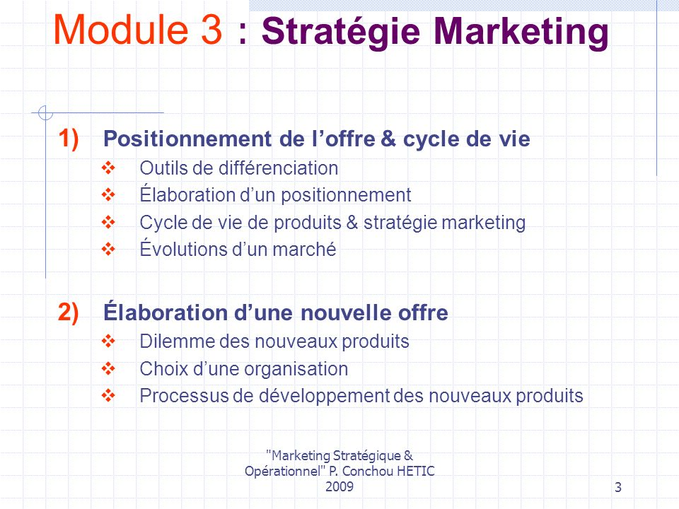 Module 3 : Stratégie Marketing