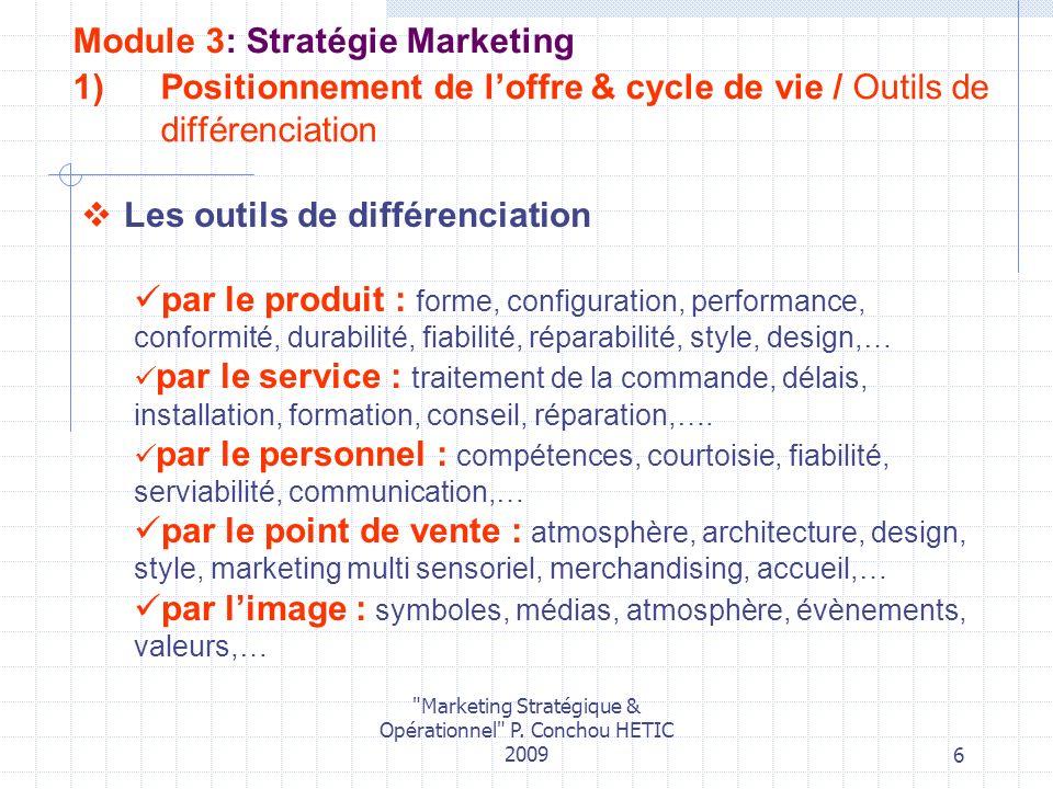 Positionnement de l'offre & cycle de vie / Outils de différenciation