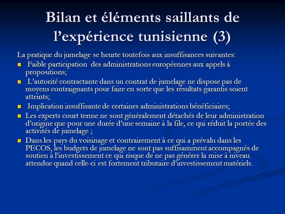 Bilan et éléments saillants de l'expérience tunisienne (3)