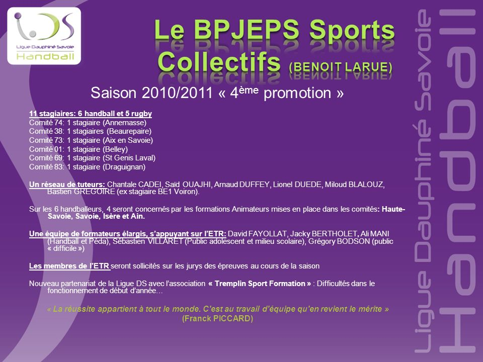 Le BPJEPS Sports Collectifs (BENOIT LARUE)