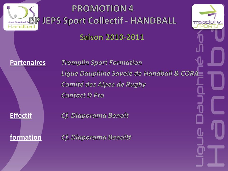 PROMOTION 4 BP JEPS Sport Collectif - HANDBALL