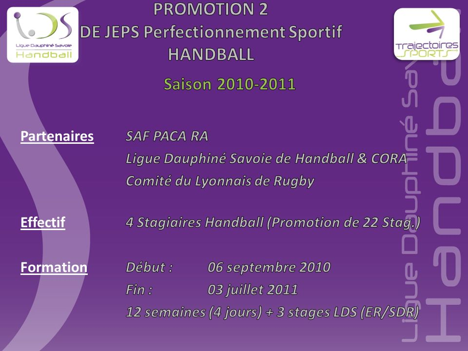 PROMOTION 2 DE JEPS Perfectionnement Sportif HANDBALL