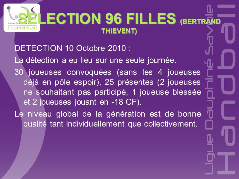 SELECTION 96 FILLES (BERTRAND THIEVENT)