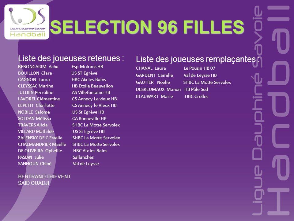 SELECTION 96 FILLES Liste des joueuses retenues :