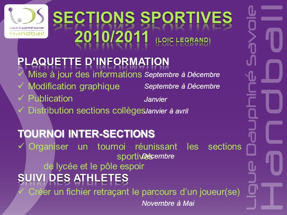 SECTIONS SPORTIVES 2010/2011 (Loic Legrand)