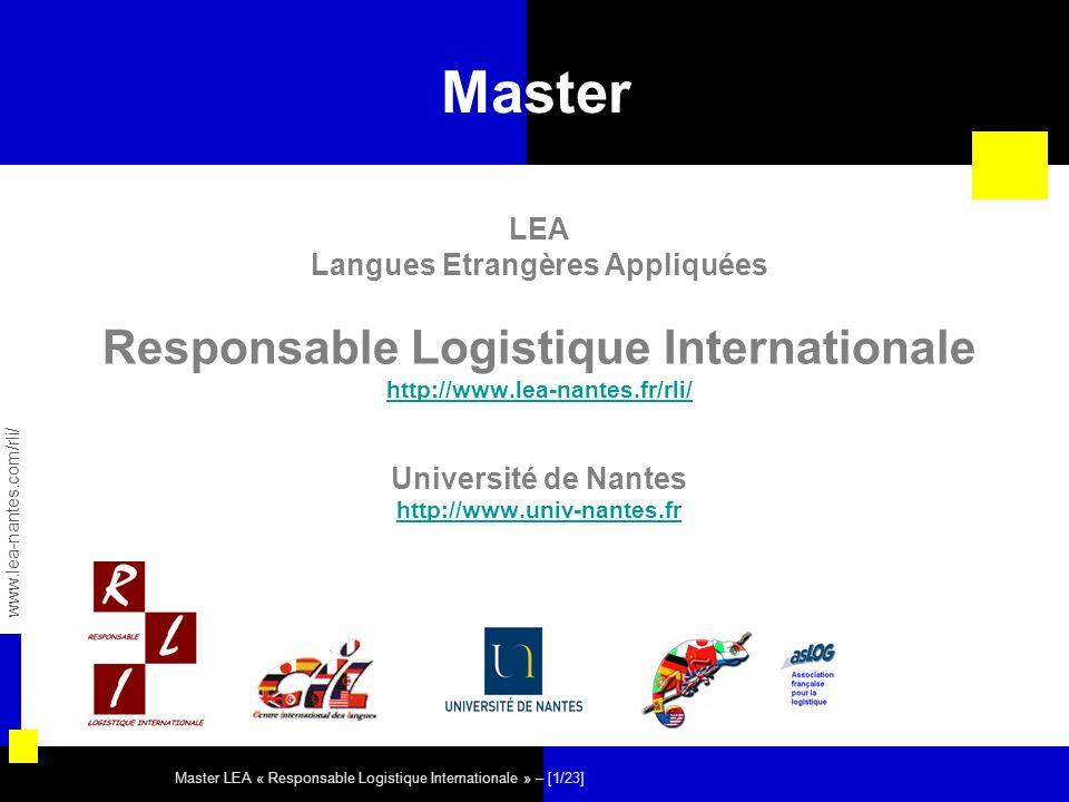 Langues Etrangères Appliquées Responsable Logistique Internationale