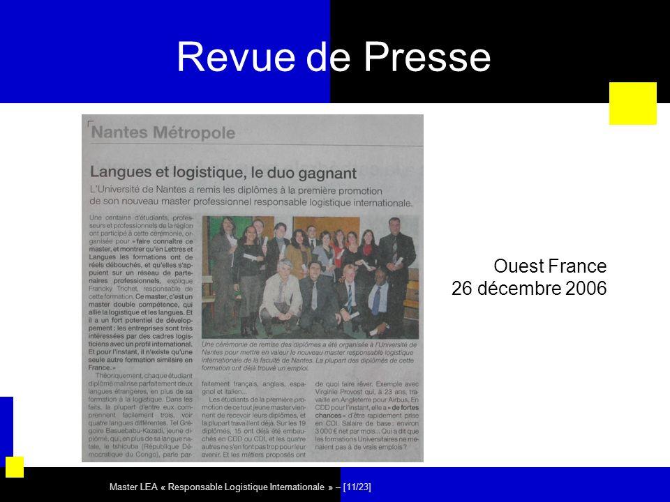 Revue de Presse Ouest France 26 décembre 2006